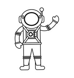 astronaut spacesuit helmet outline vector image