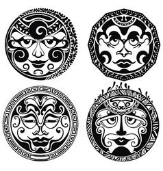 Set of polynesian tattoo styled masks vector image vector image