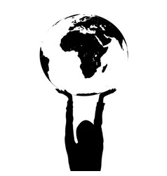 woman silhouette holding the earth in hands vector image