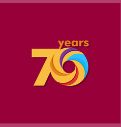 70 year anniversary colorful template design vector