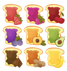 A set of nine sweet sandwiches chocolate banana vector