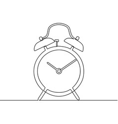alarm clock continuous one line drawing black and vector image