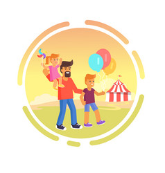 amusement park father with children isolated vector image