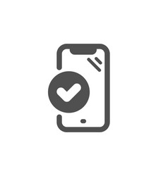Approved phone icon accepted smartphone sign vector