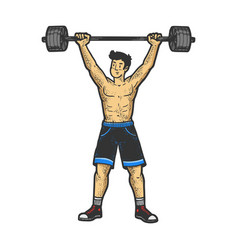 Athlete weightlifting barbell sketch vector