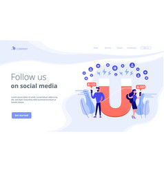 Attracting followers concept landing page vector