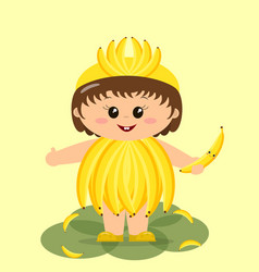 baby in a banana costume vector image