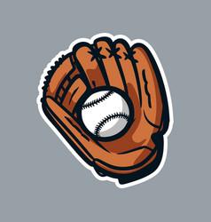 Baseball gloves and ball logo icon asset vector