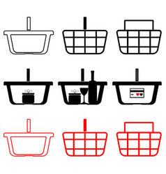 basket for shopping with wear wine glass and vector image