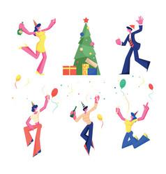 birthday new year and christmas celebration set vector image