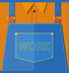 Blue jeans apron with outsets and pocket vector