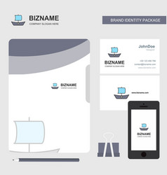 boat business logo file cover visiting card and vector image