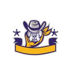Bulldog Sheriff Cowboy Head Banner Retro vector