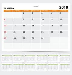 calendar 2019 diary vector image