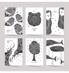 Cards with a trendy hipster print vector