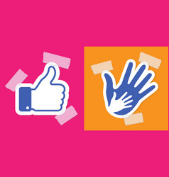 caring hand applique thumb up applique plaster vector image