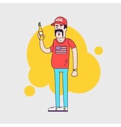 Cartoon character truck driver vector