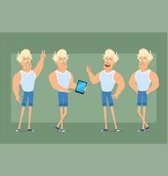 Cartoon flat blonde sportsman character set vector