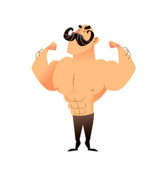 Cartoon muscular man with a mustache funny vector