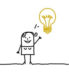 Cartoon woman with light bulb vector