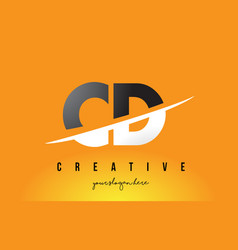 Cd c d letter modern logo design with yellow vector