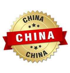 China round golden badge with red ribbon vector