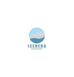 Circle iceberg with water logo design icon vector