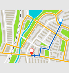 city map navigation route color point markers vector image