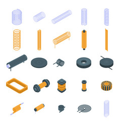 Coil icons set isometric style vector