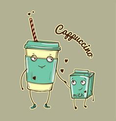 Color cappuccino and milk vector