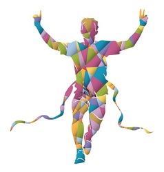 Colorful silhouette running winner vector image