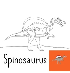 Coloring page for kids with spinosaurus vector