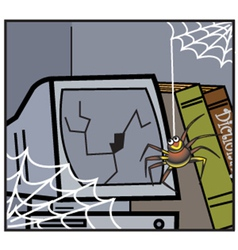 Computer with cobwebs vector