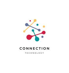 connection dot technology logo vector image