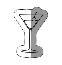 contour cocktail beverage with cherry icon vector image