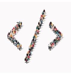 Crowd people shape arrow direction vector
