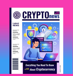 Cryptocurrency blockchain magazine cover vector