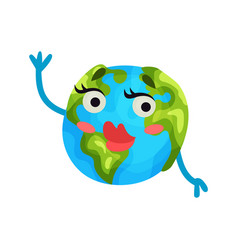 cute cartoon flirty earth planet emoji with red vector image
