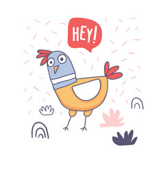 Cute cartoon rooster with love emoji doodle vector