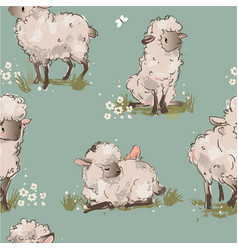 cute sheeps seamless pattern vector image