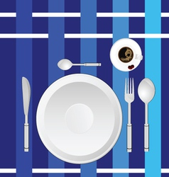 Dinner service on a blue tablecloth vector