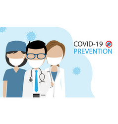 Doctors with mask prevention covid-19 vector