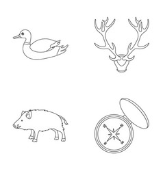 Duck deer antlers compass wild boarhunting set vector