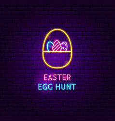 Easter egg hunt neon label vector