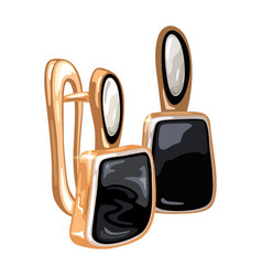 Elegant golden earrings with oval and square shape vector