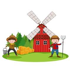 Farmers and barn vector image