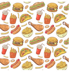 fast food hand drawn seamless pattern with burger vector image