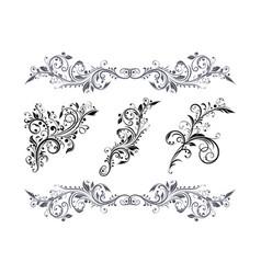 floral decorative elements set black branch vector image