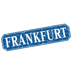 Frankfurt blue square grunge retro style sign vector