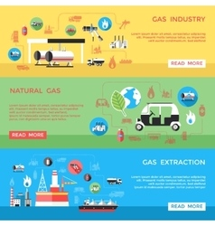 Gas Industry Horizontal Banners Set vector